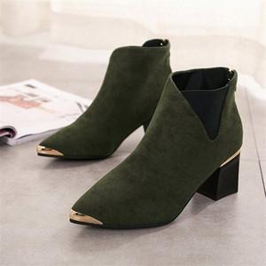Botinhas cootelili mujer botas de tornozelo para mulheres preto básico moda camurça botas de couro fêmea apontou toe t2dx #