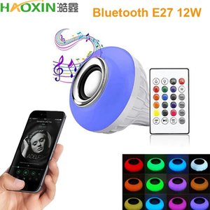 HaoXin Smart E27 12W Ampoule LED Bulb RGB Light Wireless Bluetooth Audio Speaker Music Playing Dimmable Lamp with APP Remote Control For Home