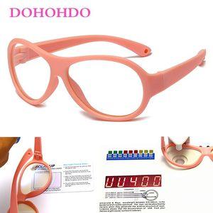 DOHOHDO Girls Boys Anti Blue Light Glasses New Fashion Oval Frame TR90 Silicone Kids Eyeglasses Computer Eyewear UV400 Okulary