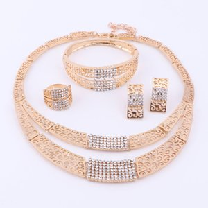 Gold Fashion Charm Plated New Crystal Necklace African Women Luxury For Bracelet Bridal Sets Jewelry Ring Earrings Wedding Party Cfkcw