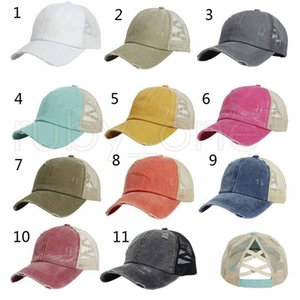 Women Hats Baseball Cap Ponytail Washed Messy Bun Hats Snapback fashion cap Ball Caps Casual Summer Sun Visors Cowboy Hat Party Hats RRA4158