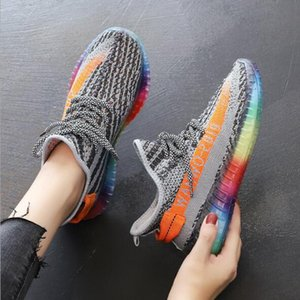 35-40 Knitted Sneakers Women 2020 New Coconut Shoes Rainbow Jelly Bottom Flying Knit Shoes Fashion Ladies Fashion Casual Shoes C0306