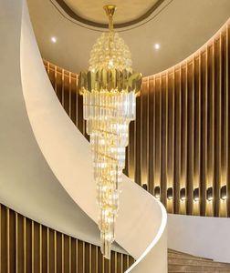 Grande ouro imperial k9 candelabro de cristal para o hotel salão sala de estar escadaria pendurado lâmpada pingente europeia grande iluminação
