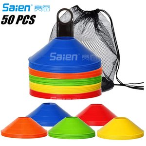 Disc-Cones (Set of 50) Agility-Training Soccer-Cones with Carry Bag and Holder for Football Basketball Sports Field Cone Markers