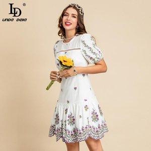 Abiti da festa LD Linda della 2021 Summer Fashion Designer Bianco abito in cotone donna manica corta affascinante ricamo floreale elegante