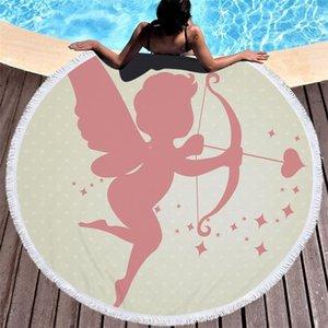 2021 New Cupido Anjo Asas Impresso Mikrofibra Redonda Toalha Praia Toalhas de Banho Para Adultos Crianas Piquenique Yoga Tapete Borlas Cober