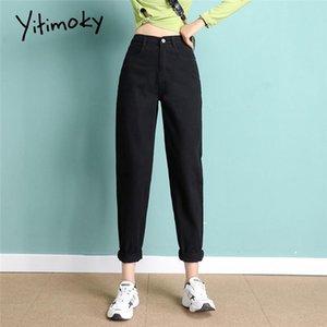 Yitimoky Black High Tisticed Джинсы Женщины 2021 Весна Мама Разорвана Синяя Белая Винтажная Уличная Одежда Модная одежда Гарем Брюки Джинсовые