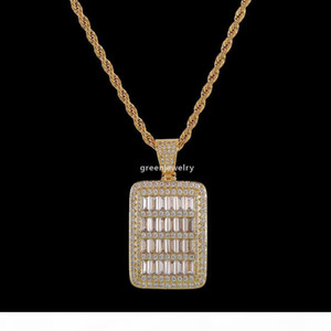 New Bling Cage Dog Tag Necklace &Pendant Men 'S Hip Hop Jewelry Free Steel Rope Chain Gold Color Full Cubic Zircon For Gift g