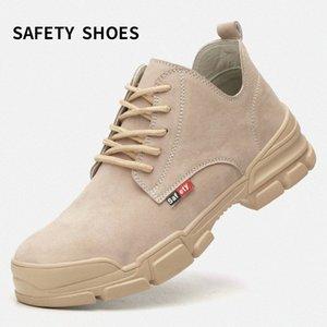 Erkek Botları Kauçuk Alt Sonbahar Ve Kış Ayakkabı Ayak Bileği Koruma İş Botları Metal Toe Boyutu ile Çelik Toe Işık Nefes H7H5 #