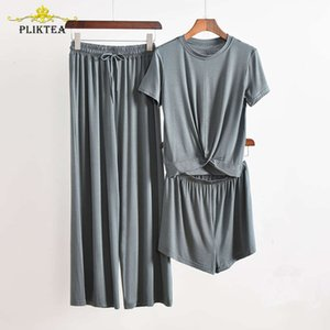 Pliktea 3 Pyjamas Morceau Ensemble de tissu gris pour femmes femmes auff Accueil Femme Homewear costume Fall Ladi Sleepwear