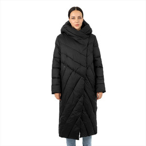 Womens Long Down Jacket Parka Goose Outwear with Hood Quilted Coat Female Plus Size Montcler Cotton Clothes Canada 2021 New Top