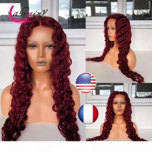 Bourgogne rouge HD TRANSPARENT Dentelle Curly 13x6 Frontal Human Hair Perruques Dentelle Avant De Deep Wave Perruque Brown Curly 99J Perruque Prépurée