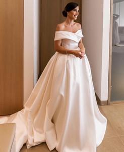 Cheap Simple Plus Size New Arrival A-Line Wedding Dresses Off Shoulder Pleats Sweep Train Bridal Gown Wedding Dress Vestidos De Noiva