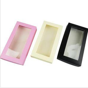 21 * 11 * 3.5cm Caja de embalaje de papel de cubierta blanca grande grande con plástico PVC Peluca de PVC regalo de regalo Billetera Papel de embalaje Caja de cartón