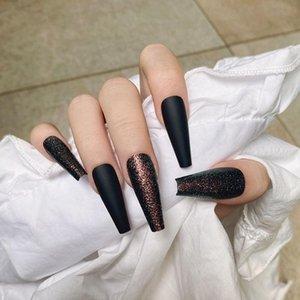 False Nails 24 Pcs Box Detachable Glitter Black Long Ballerina Wearable Coffin Fake Full Cover Nail Tips Press On