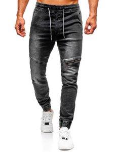 Erkek Ayak Bileği Bantlı Yıkanmış Kot Rahat Elastik Bel İpli Kalem Pantolon Streetwear Fermuar Patchwork Pantolon Pantolon