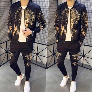 Men Sets Fashion 2021 Autumn New Mens Tracksuit Jacket+Pant Male Printed Two-piece Plus Size 5XL-M Trainingspak Heren Sport Suit