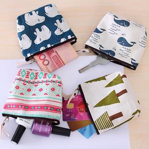 Girls Mini Zipper Sanitary Napkin Bag Cotton Linen Coin Purse Holder Cosmetics Organizer Storage Bags Women Wallets
