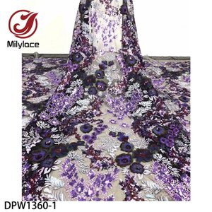 Luxury 3D Flower Embroidered Lace Fabric 5yards Bridal Lace Fabric with Sequins Embroidery African French DPW1360