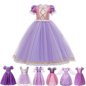Girls Princesse Tangled Robe Sequins Fantaisie Cosplay Costume pour Enfants Violet De Purple Luxe Ball Robe Halloween Partie d'anniversaire Vestido 210310