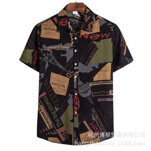 Mens Thin Summer Shirts Fashion Trend Printing Short Sleeve Cardigan Lapel Neck Shirts Spring Male New Casual Single Breasted Plus Size Tops