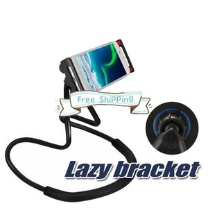 DHL Lazy Bracket Universal Cell Phone Holder Lazy Hanging Neck Phone Stands DIY Free Rotating Mounts With Multiple Function Opp Package