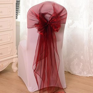 Sashes Organza Chair Sash Bow For Wedding Party Banquet Decor Event Decorations Ties Burgundy Bands 65x275
