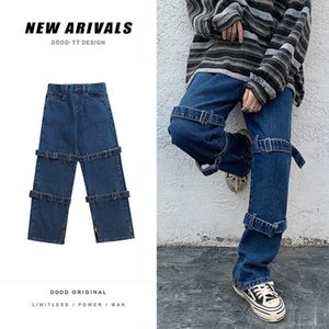 Neploha мужчины повседневные негабаритные прямые эффект цвета грузовые джинсовые брук корейский уличный мужчина джинсовая одежда