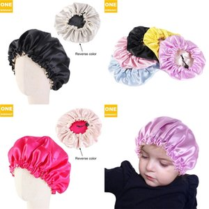 Cute children hat hats beanie nightcap adjustable buckle double layer Satin candy color hair protection cap baby high quality H24QZ2T