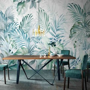 Custom Mural Wallpaper Modern 3D Hand Painted Nordic Watercolor Tropical Plant Leaves Wall Painting Living Room Papel De Parede