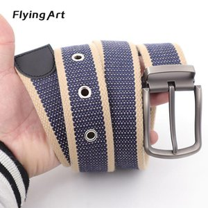 Straight new thickened men's and women's pin buckle belt can be customized canvas jeans cotton belt