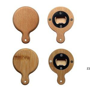 Creative Bamboo Wooden Bottle Opener With Handle Coaster Fridge Magnet Decoration Beer Bottle Opener Free Engrave Logo HWA8750