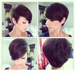 Pixie Cut Non lace Remy Bob Short Human Hair Wigs With Baby Hair Bang Human Hair Capless Wigs For Black Women