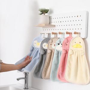 Hanging coral veet hanging towel kitchen water absorbent towel cute cartoon animal bathroom hair free towel