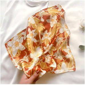 Fashion Women Silk Bandana Square Silk Scarf Female Print Head Hijab Women Satin Shawl Foulard Scarves