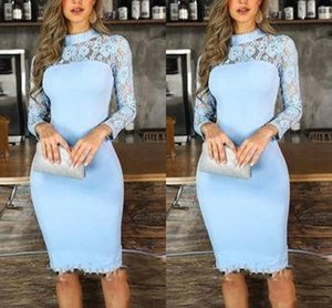 Short Sheath Prom Dresses For Girls Lace High Neck Light Sky Blue Cocktail Party Dress Knee Length Long Sleeve Graduation Homecoming Wear