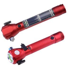 Multi-functional Buzzing Alarm Emergency Solar Torch Safety Hammer Vehicle Escape LED Flashlight