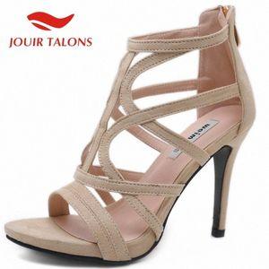 Женская обувь на продажу гладиатор стая Тонкие каблуки на молнии высокий каблук узкая полоса Party Sexy Club 2020 новый поступления горячие женщины сандалии T2ZN #