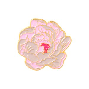 Flowers peony Enamel Brooches Cartoon Cute Fun Pins Bades for Denim Clothes Bag Fashion Jewelry Christmas New Year Gift Kids Friends