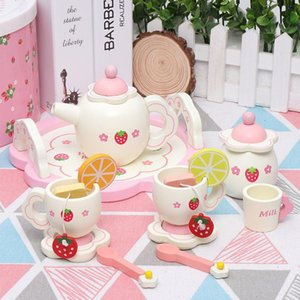 Creative White Afternoon Tea Set Lemon Simulation Play House Kitchen Wooden Children's Toy New Strawberry Cake Toy 210308