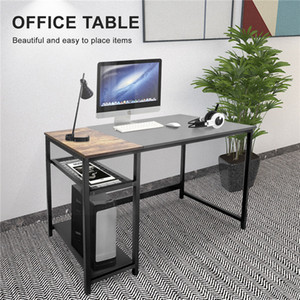 US Local Warehouse 2021 New Modern Black minimalist style home office computer desk with 2 storage racks LS513242381-01