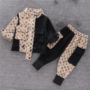 Ropa de bebé niños niños de lujo diseñador de lujo conjuntos chica otoño moda niños ropa deportiva + pantalones 2 piezas 2021