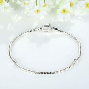 size 17-21cm 925 Silver Plated Bracelet Snake chain with Barrel Clasp diy beads Fit Pandora Logo Bracelet Jewelry 129 T2