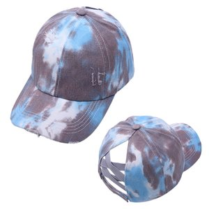 Tie Dye Ponytail Baseball Cap Criss Cross Snapback Hats Outdoor Sports Messy Bun Sun Hat Washed Cotton Duck Tongue Sunshade Caps HHC7534