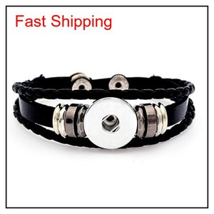 Multilayer Leather Bracelet Noosa Chunk 18mm Metal Button Bracelet Ginger Snap Button Statement Jewelry Wholesale jllrIW dh_garden