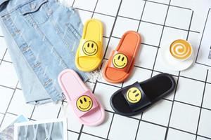 Comfortable Parent Child Bathroom Women Shoes Pvc Ladies Shower Slippers With Smile Plastic Upper Girls Indoor Outdoor Slippers. d17C#