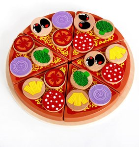 Simulation Pizza Wooden Toys Food Cooking Simulation Tableware Children Kitchen Pretend Play Toy Education Toys Kid Toys Gift 210308