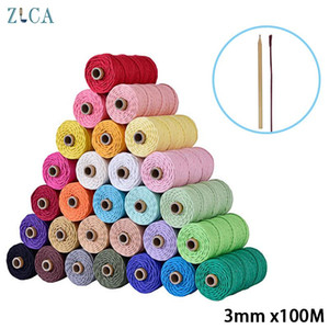 3mm 100% Cotton Cord Colorful Cord Rope Beige Twisted Craft Macrame String Home Textile Wedding Decoration 110yards DIY