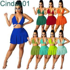 Женщины Scestsuits Двухструктурное набор платье дизайнер тонкий сексуальный сплошной цвет подвесшие платья шеи обернутые бюстгальтер груди сложенные юбка 8 цветов
