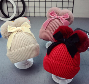9Styles Double Mur Ball Bow Hats Baby Pom Pom Pom Beanie Cap Cap Toddler Дети Детские Девушки Зима Теплый Крючком Вязаные Шляпы Аксессуары Крышки